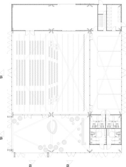 Plan de la halle en disposition de concert frontal