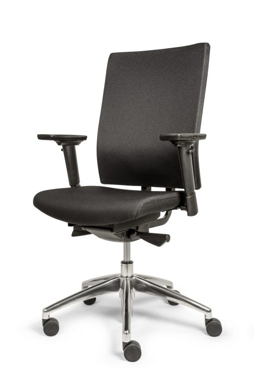 Bureaustoel Ergo 88 met volledig gestoffeerde rug en zachte comfort zitting stof zwart. Bureaustoelen MKB