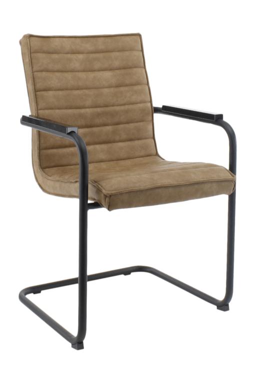 RRicky Chair slede frame vergaderstoel met zwart frame en Cognac kleur velours stof, bakkelieten armleggers. Bureaustoelen MKB