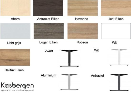 Uitvoeringen van bladen en Poten / onderstel. Dit zijn algenemen stalen, voor de exacte uitvoering zie kleuren blad.