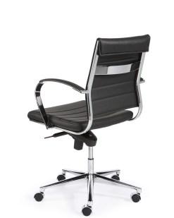 Steel 1202, lage rug, met zwart eco leder chroom frame en onderstel | Bureaustoelen MKB
