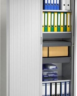 Roldeurkast 198 cm hoog, 120 cm breed met 4 legborden, kleur aluminium | Bureaustoelen MKB