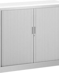 Roldeurkast 105 cm hoog zonder bovenblad en twee legborden | kleur licht Grijs | Bureaustoelen MKB