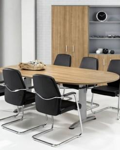 Work It vergadertafel met Logan bald en aluminium onderstel