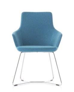 Hendrix Small of Mini | Kuipstoel op sledeframe en blauwe stof Bureaustoelen MKB
