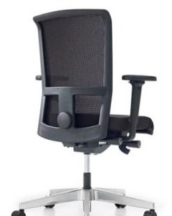 Ergo Seven NPR met aluminium kruisvoet, rug in netwave, zitting stof zwart Lucia   Bureaustoelen MKB