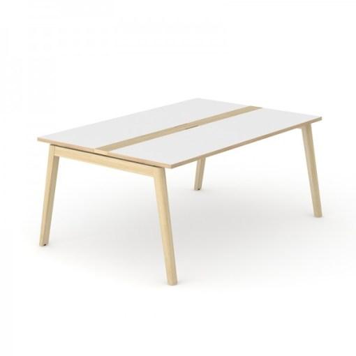 Nova Wood vergadertafel 180 x120 cm met wit blad en eiken gebeitst onderstel.Narbutas   Bureaustoelen MB