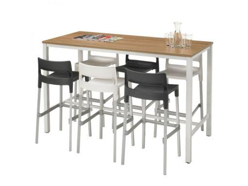Sta tafel 180-80 cm alu frame, midden eiken blad en barstoelen
