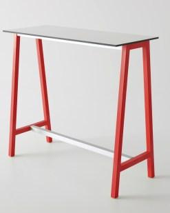 Color Table 110 cm met wit blad en rode poten - witte tussen balk