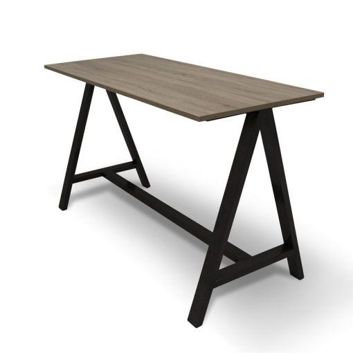 Statafel 2A | Blad midden Eiken onderstel zwart, Bureaustoelen MKB