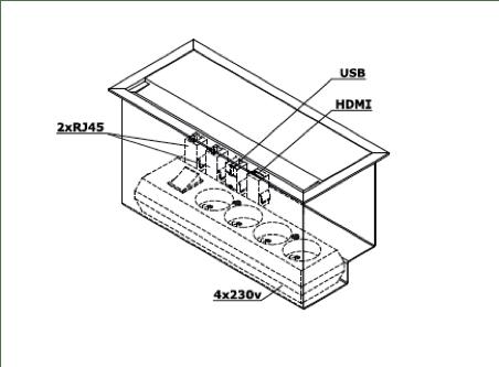 Techniekbox met aansluitingen in het tafelblad. Bureaustoelen MKB