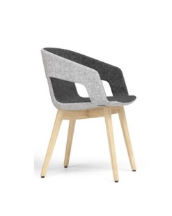 Tango Wood, design stoel met houten frame en two-tone gestoffeerde zitting.