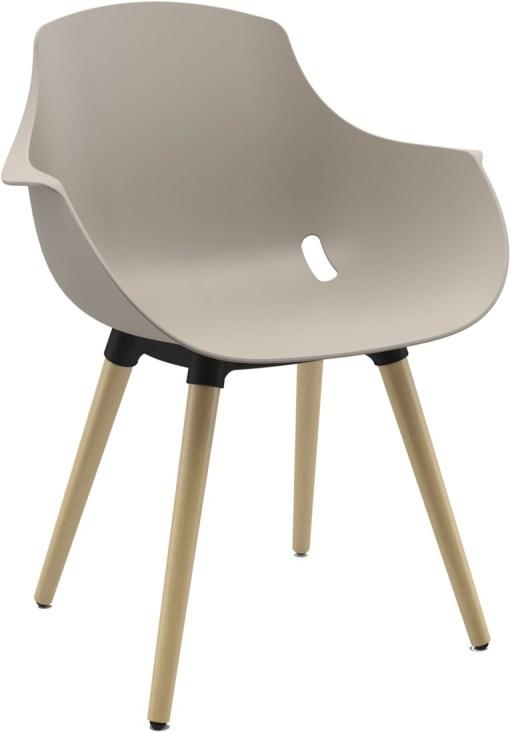 Ago chair houten poten met moderne-kuipstoel in kleur beige. Bureaustoelen MKB