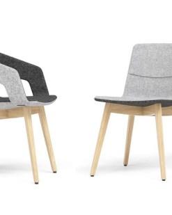 Tango Wood met en zonderarmlggers. Bureaustoelen MKB