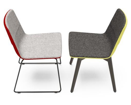 Tango stoel slede stoel en houten frame met contrast stof