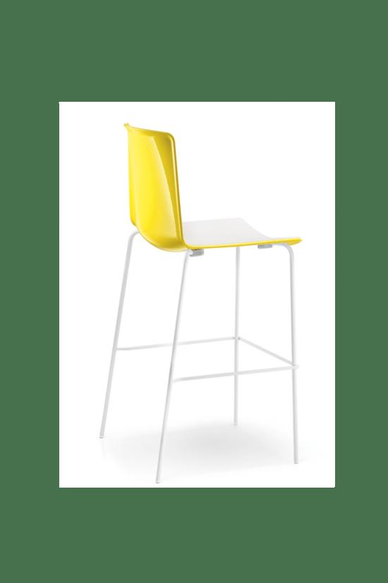 Tweet High, slanke barstoel met 4-poots frame en tweekleurige zitschaal