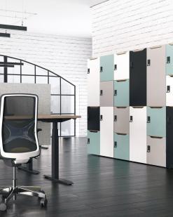Zit-Sta bureau Active zwart met scherm en Ergo Wind