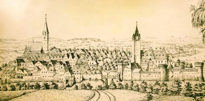 Markt und Schloss Obernberg um 1640 - auf einem zeitgenössischen Stich