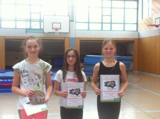 01_Mädchen 5. Klasse (v. l. n. r.) 1. Platz Lara Brieg, 2. Platz Maria Pavloudi, 3. Platz Hannah Dietrich