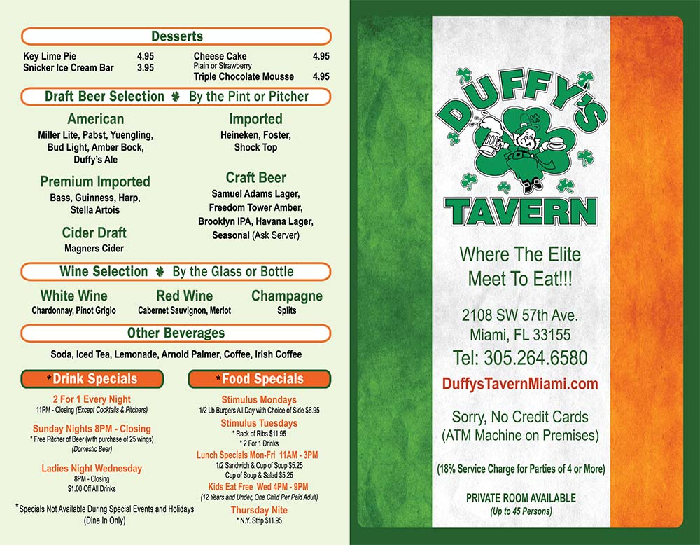 Duffy's Tavern Menu