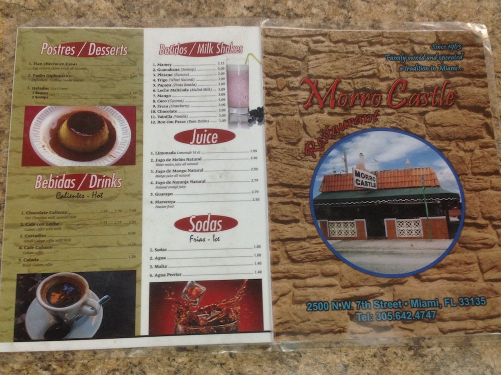 Morro Castle in Little Havana Menu Page 1