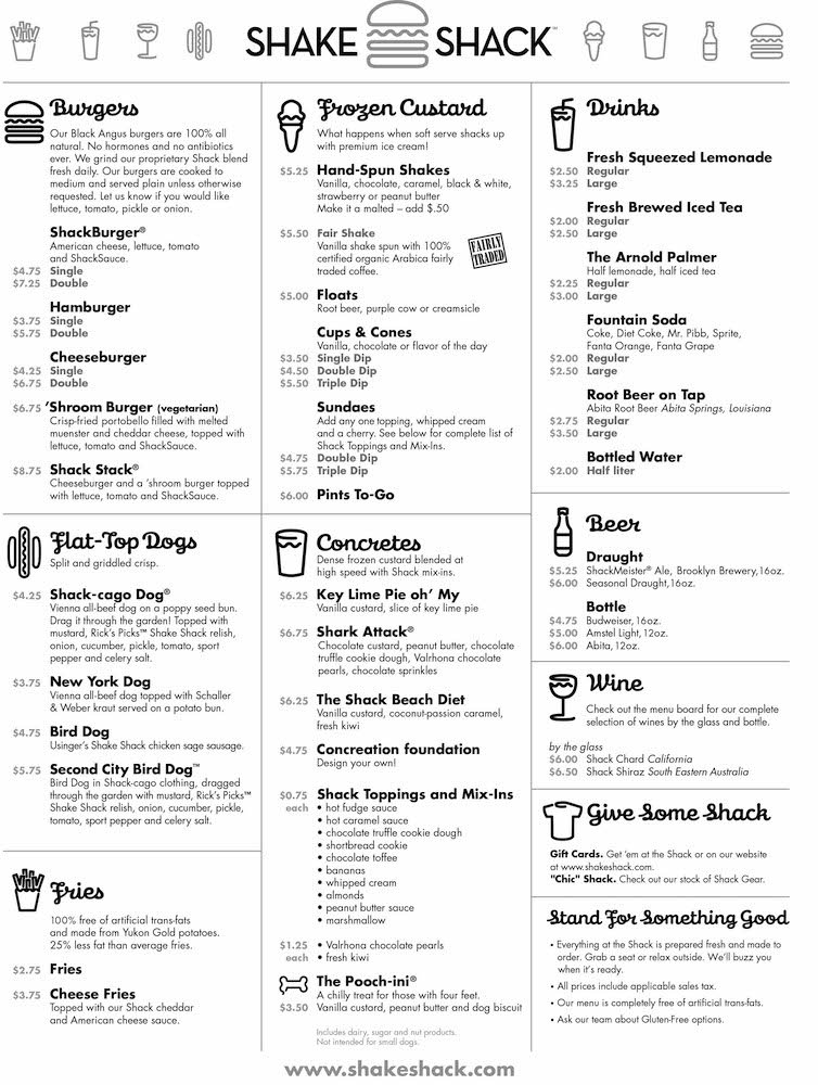 Shake Shack Miami Beach Opening Day Menu