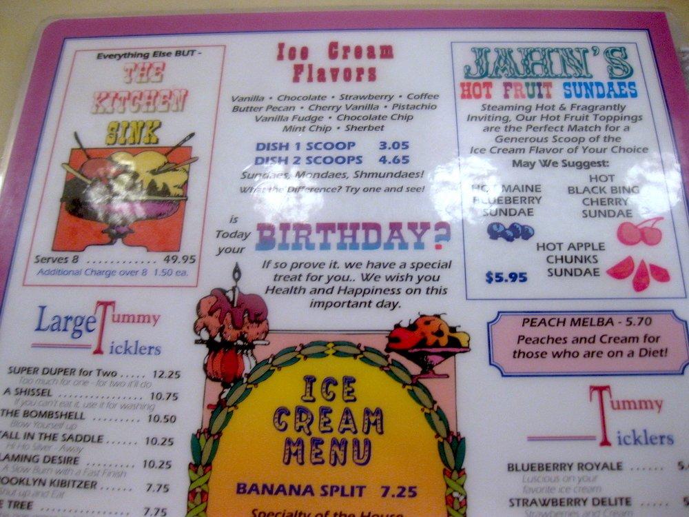 Jahn's Ice Cream Parlor Menu