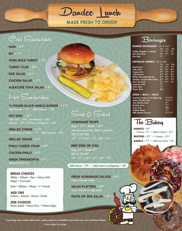 Dandee Donuts Factory Pompano Lunch Menu