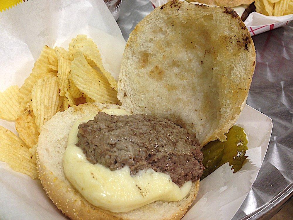 Captain John's Steamed Cheeseburger Open Face