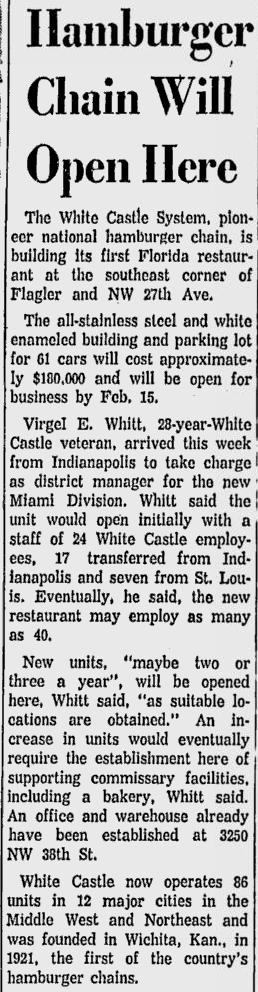 Miami News Article 11-12-1958