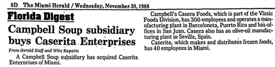 Caserita Company Sold in the Miami Herald 11-30-88