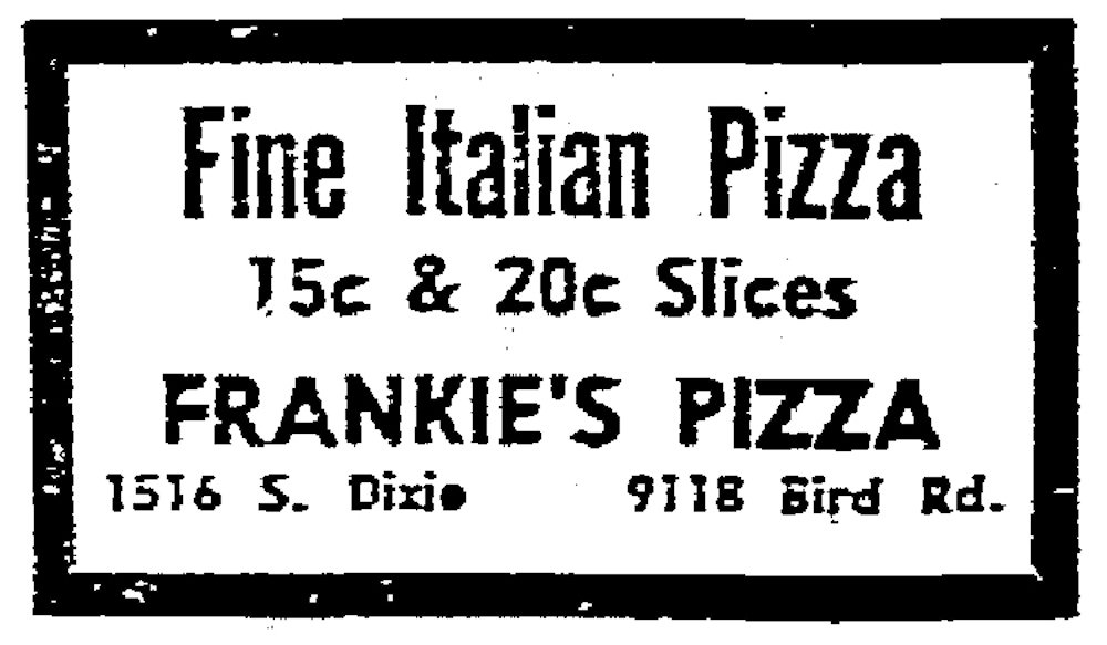 Frankie's Pizza in the Miami Herald July 3, 1958