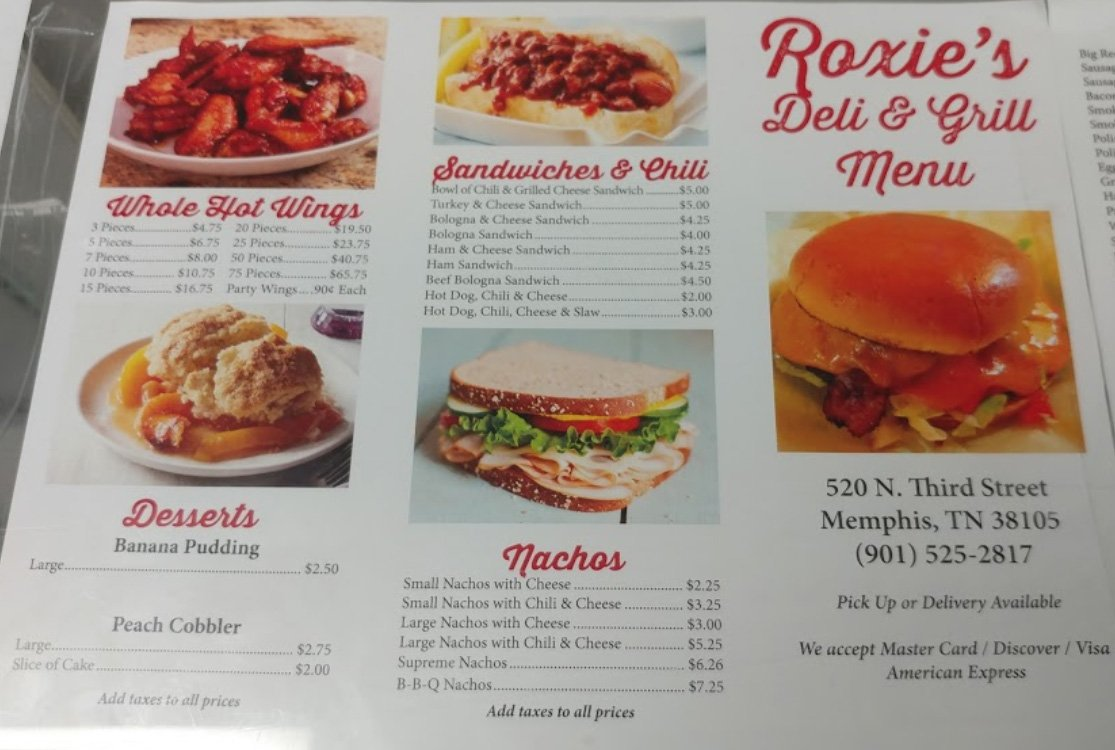 Roxie's Grocery Menu