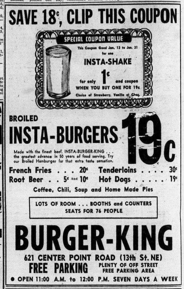Burger King ad in The Gazette (Cedar Rapids, Iowa) 1-13-56
