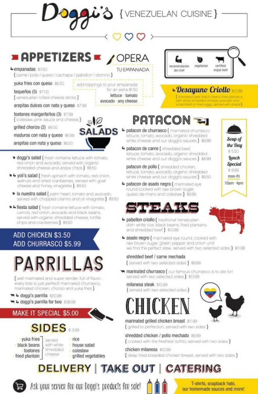 Doggi's Arepa Bar Menu
