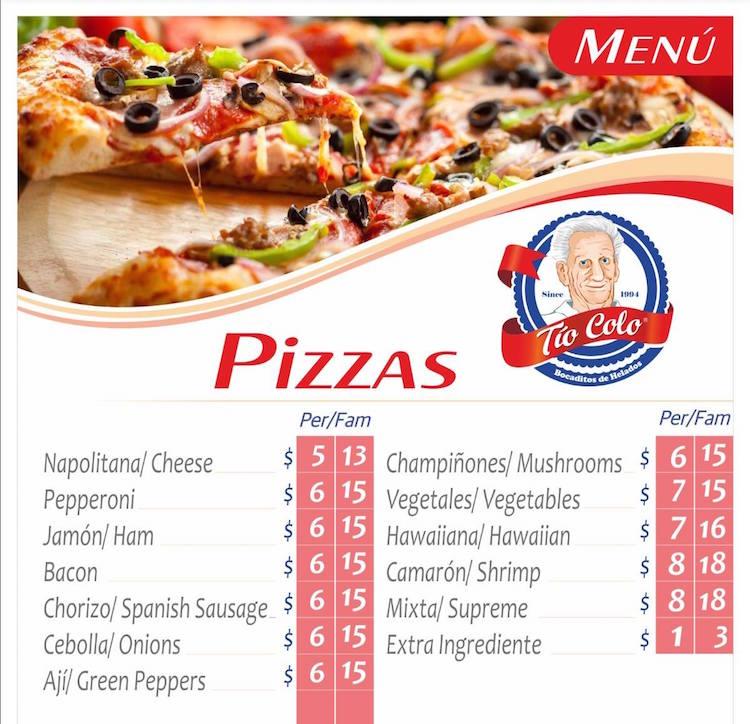 Tio Colo Menu for Pizza Cubana