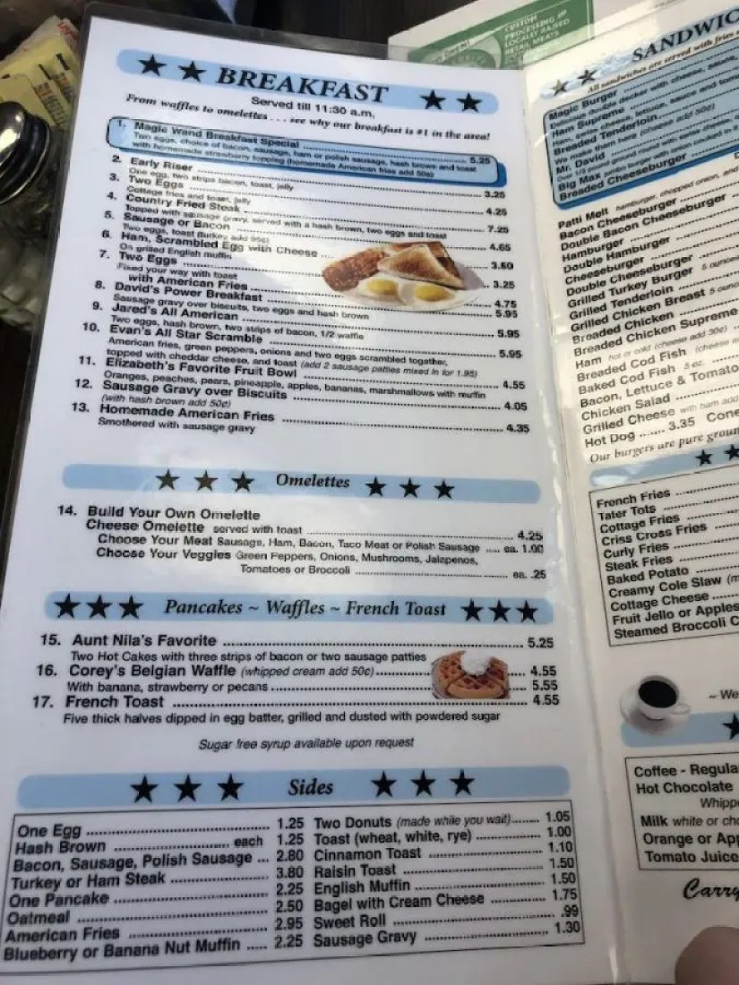 Breakfast Menu Page
