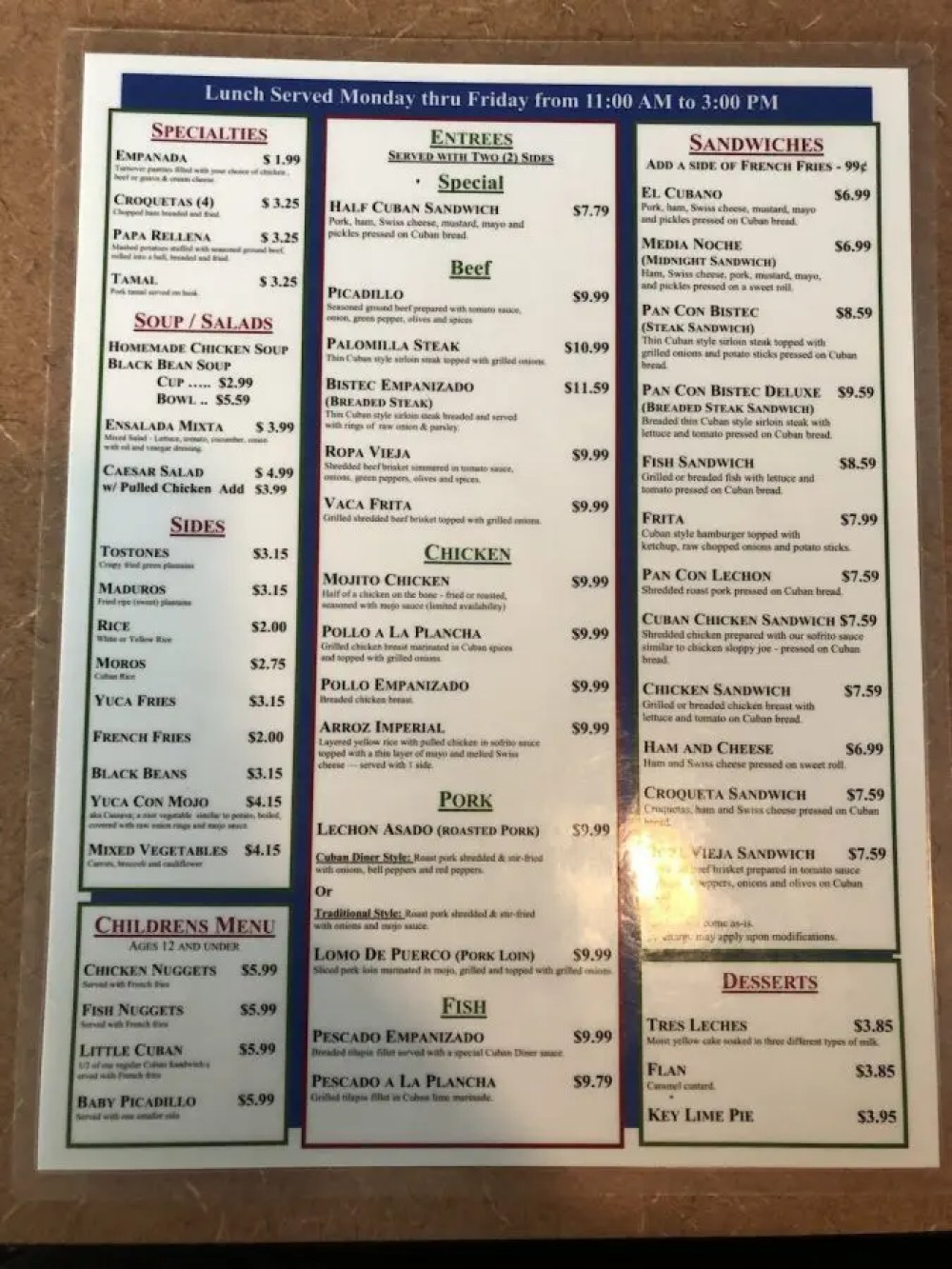 The Cuban Diner Menu Page 1