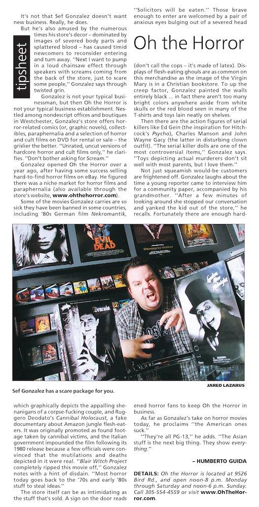 OTH in Miami Herald's Street Magazine 7-12-02