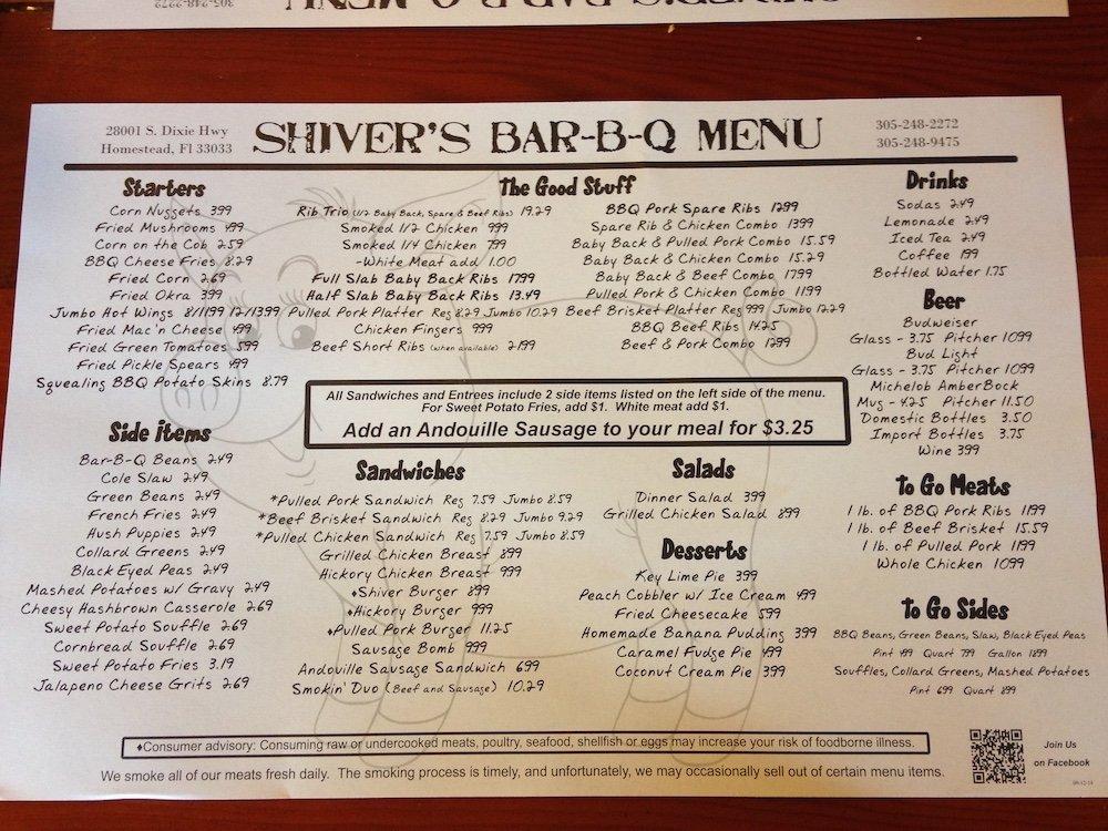Shiver's BBQ Menu