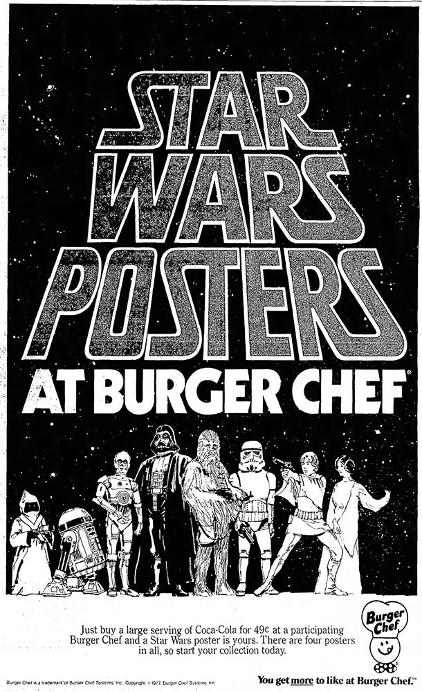 Burger Chef Star Wars Posters