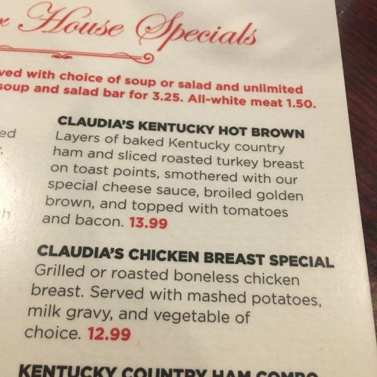 Claudia Sanders Dinner House Menu
