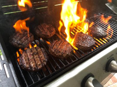 Delicious Grilled Burgers from a Propane Grill