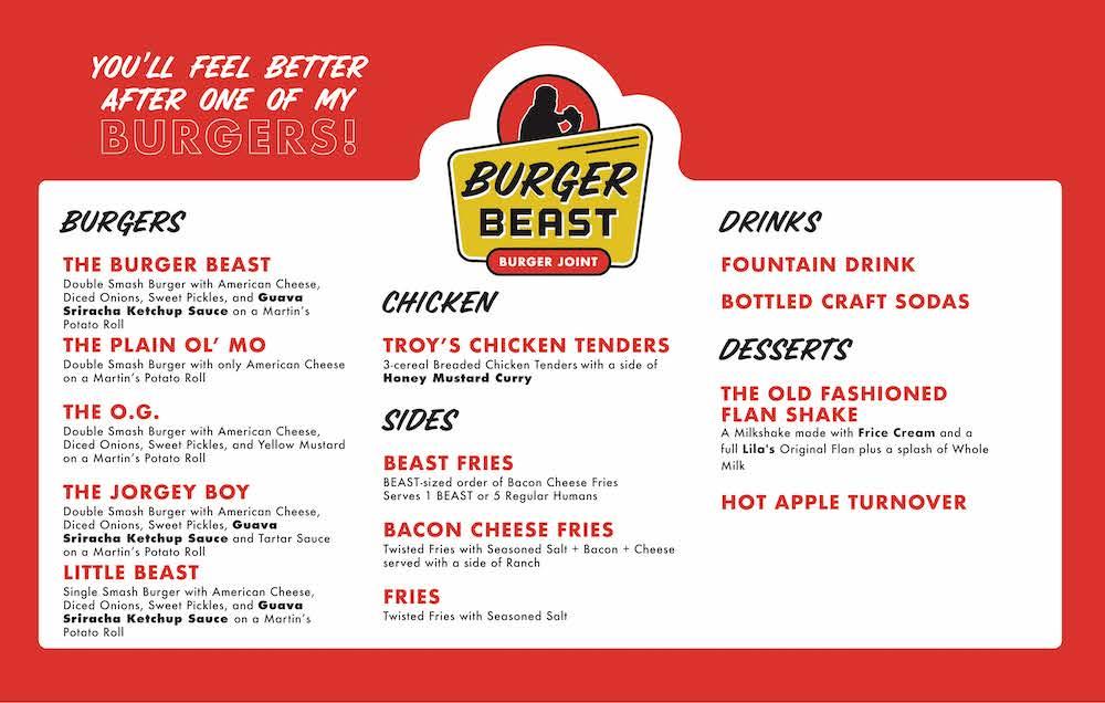 Burger Beast Burger Joint Menu