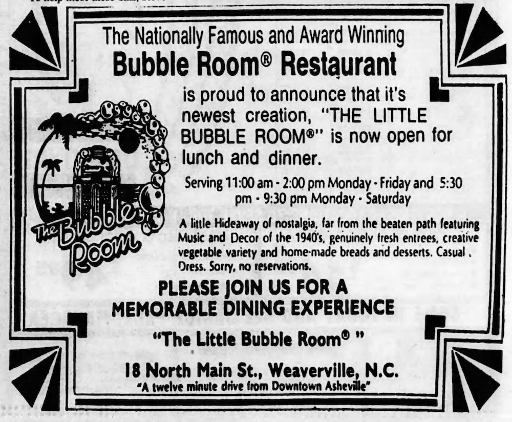 Bubble Room in the Asheville Citizen Times October 16th, 1985