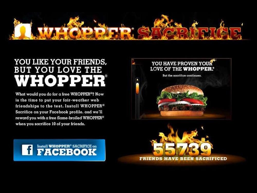 Burger King Whopper Sacrifice