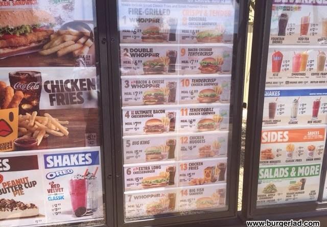 Burger King USA Prices