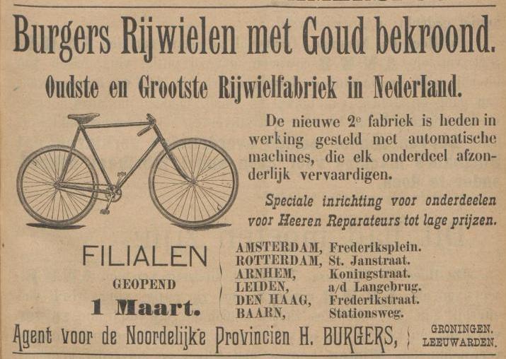 Advertentie Burgers. Kampioen 2 aug 1895