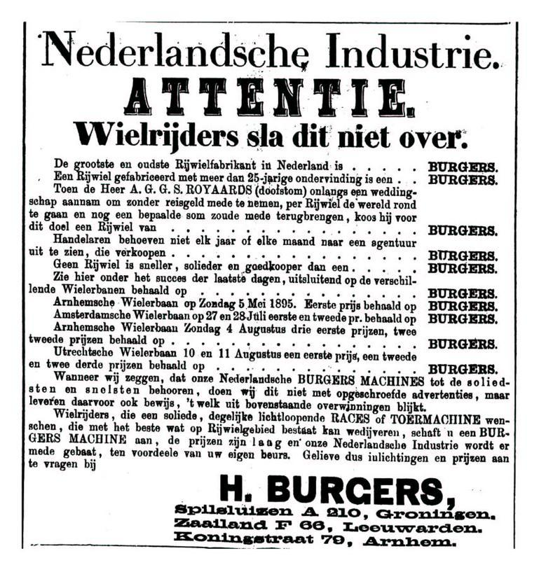 Advertentie Burgers. Leeuwarder Courant 23-08-1895