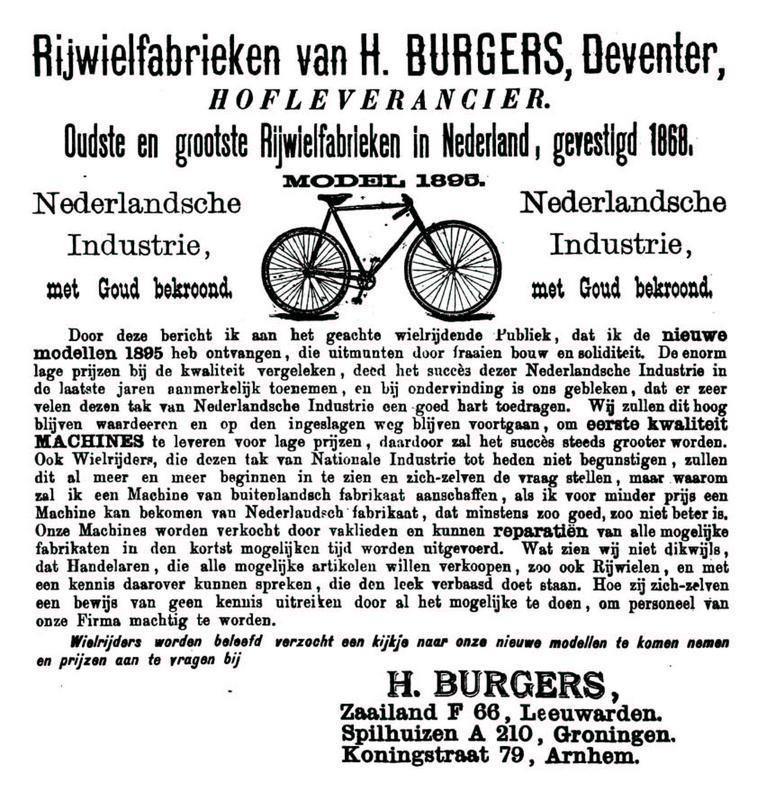 Advertentie Burgers. Leeuwarder Courant 19-04-1895